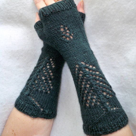Pine Cone Knitting Pattern : fingerless gloves and matching scarf knit pattern bundle of Pine tree and con...