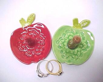 Red Ring Dish | Red Apple Pottery | Green Apple Ring Holder | Novelty Design Handmade Dish