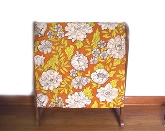 Cafe Curtain Panel / Big Floral Pattern / Yellow Orange White