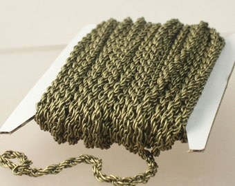 NEW Sale 32 ft of Antique Brass Plated BIG Heavy Fashion Rope Chain - 3.5mm Thickness