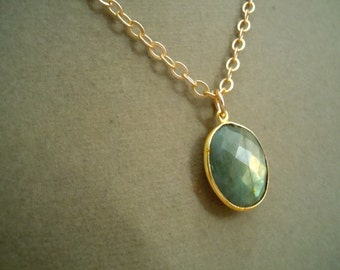 Perfect Pendant Collection -- Sahara -- One of a Kind High Flash Gold Labradorite Domed Connector and Gold Cable Chain Necklace