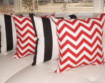 Deck Stripe Black and White and Chevron Red Outdoor Throw Pillow - Free shipping