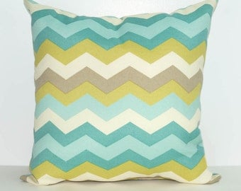Sun N Shade Chevron Outdoor Throw Pillow in Taupe, Teal, Aqua, Citrine and Cream - Free Shipping