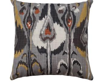 Robert Allen Ikat Bands Graystone Decorative Ikat Throw Pillow Free Shipping