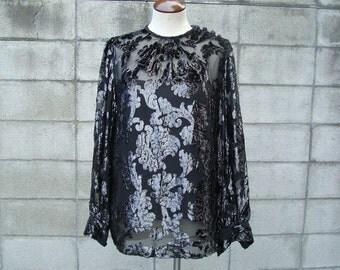 Gloria Sachs Shirt Top Vintage 1970s 70s Disco Blouse New York Black