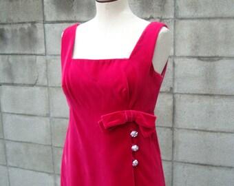 1960s Dress pink velvet magenta party dress