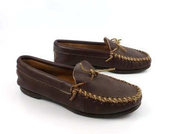 Brown Minnetonka Moccasins Vintage 1980s Leather Slip on Shoes men's size 7