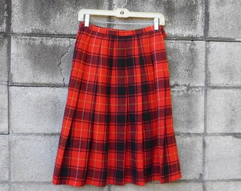 Pendleton Plaid Skirt Vintage 1960s Red Wool Black Yellow Pleated Women's