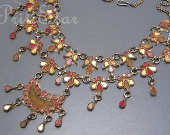Vintage Massive Bib Necklace . Foil mirror Glass . India Tribal  Jewelry