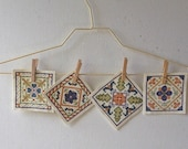 Vintage Cross Stitch Pictures - set of four