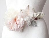 Winter Garden BELT SASH bridal chiffon crystals