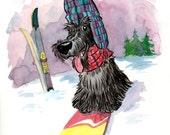 Scottie on a snowboard original watercolour painting