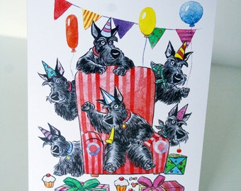 Party scotties long edge fold greeting cards - a set of 10 cards