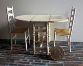 Shabby Drop Leaf Table and Chairs   1:12 scale