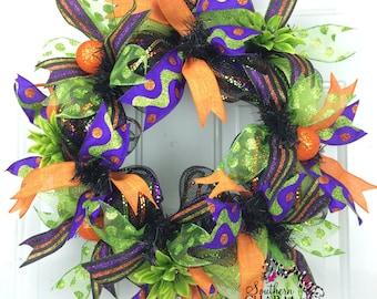Deco Mesh Slim Halloween Wreath -Trick or Treat Wreath -Whimsical Ribbon Wreath
