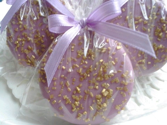Lavender and Gold Chocolate Covered Oreos Cookies Lavender Baby Shower Lavender Gold Wedding Favors Christening Baptism Favors Sweet 16