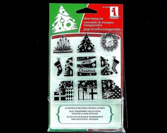 Inkadinkado CHRISTMAS MORNING Clear Stamp and Clear Stamp Block Set