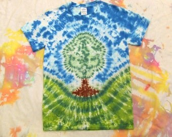 Adult Small Tie Dye Tshirt - Peaceful Tree - Ready to Ship