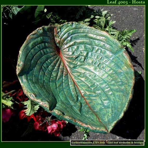 "Hosta Bird Bath / Feeder - RESERVED for SUSAN - (Leaf 4003 - 14 1/2"" x 12"" - huge deep bird bowl) - stands over flowers & shrubs and hostas"