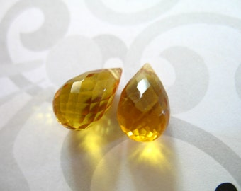 Shop Sale. Yellow QUARTZ Briolettes Teardrops Drops, Matched Pair, 12-13.5 mm, Yellow Citrine, November Birthstone giant hydqtz75 bsc solo