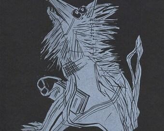 Wolf-Man Linocut Letterpress Print in White. Home Decor. Animal Print. Living Room Art.