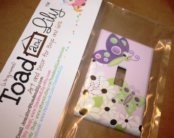 Daisy Lilac Butterfly Single Light Switch Cover Girls Bedroom Single Light Switch Cover