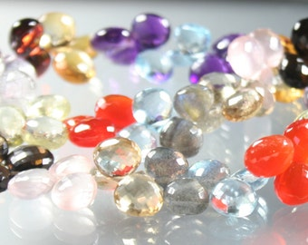 1/2 Strand AAA Multi Semi Precious Faceted Heart Briolettes 8mm - 9mm