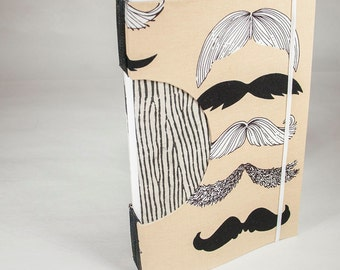 Blank Journal or Guestbook in Mustache and Animal Stripes