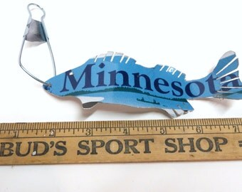 Minnesota Walleye Fish Ornament - Recycled License Plate Art - Cabin - Family Room - Guy Gift - Christmas Gift - Fisherman Gift - Holidays