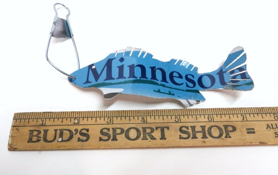 Minnesota Walleye Fish Ornament Recycled License Plate Art