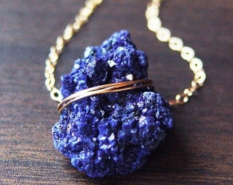 ON SALE Azurite Crystal Gold Necklace