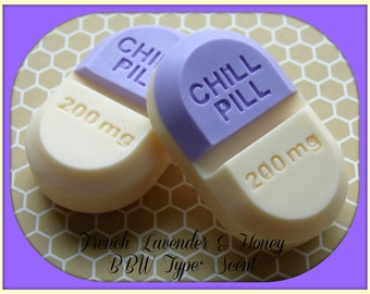 CHILL PiLL SOAP Set - French Lavender & Honey BBW Type* Scent - Gag Gift - Doctor - Medical - Nurse - Mental Health - Stress - Relax
