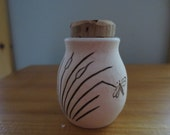 Dragonfly On Cattails Porcelain Stash Bottle Jar