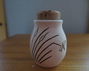 Dragonfly On Cattails Porcelain Stash Bottle Jar
