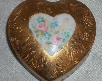 Vintage Hand Painted Miyoshi Heart Gold Foil Porcelain Trinket Box Floral