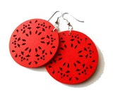 Large Red Wooden Gypsy Earrings, urban, light weight, boho