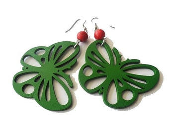 Green Wooden Earrings . Butterfly Earrings . Whimsical Jewellery . Green and Red