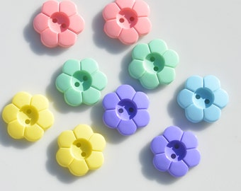 Pink, Violet, Yellow, Green, and Light Blue Flower Buttons  BN119