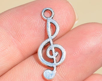 BULK 20  Silver Treble Clef Music Charms SC2818