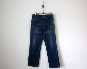 lee jeans / denim 70s 80s medium blue wash faded high waist straight leg (m - l)