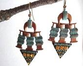 Sale, Micro Mosaic, Beaded, Chandelier Earrings, Green, Patina, Chevron Pattern