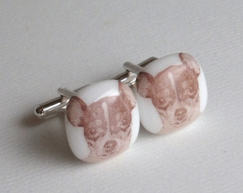 Chihuahua Cufflinks - Fused glass