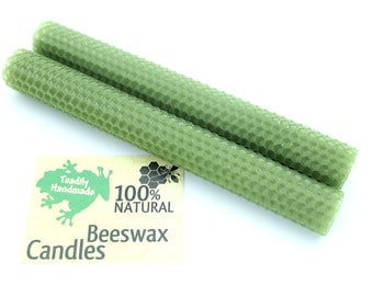 Hand Rolled Beeswax Honeycomb Tapers in Avocado Available in 6 Heights