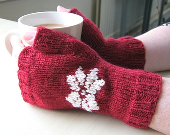 Red and Cream Snowflake Fingerless Mittens