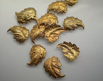 12 brass leaf charms, No. 8