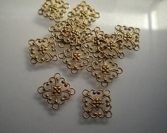 12 tiny diamond filigree connectors