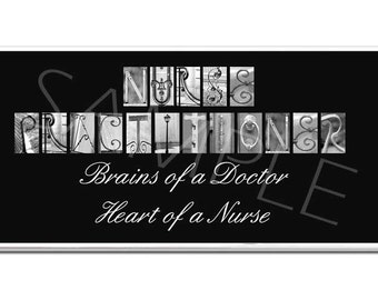 NURSE PRACTITIONER  Inspirational Plaque black & white letter art