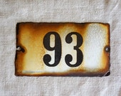 vintage enamel house number 93 from Europe, black on creamy white