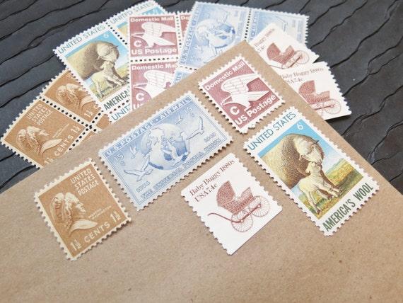 Baby Wool .. UNused Vintage Postage Stamps  .. post 5 letters