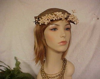 Antique straw fascinator hat with flower blossoms in front- fits most- sits on top of head